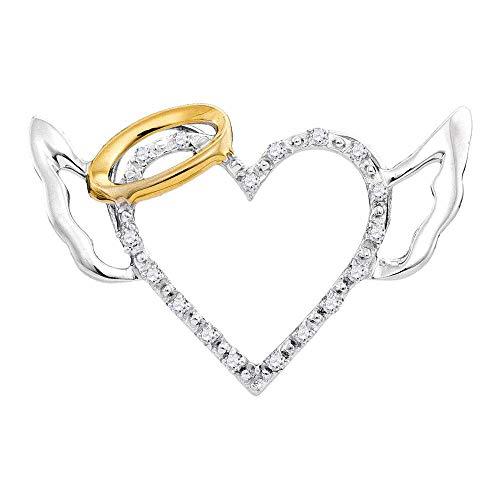 10kt White Gold Womens Round Diamond Devil Horn Naughty Heart Pendant 1/20 Cttw