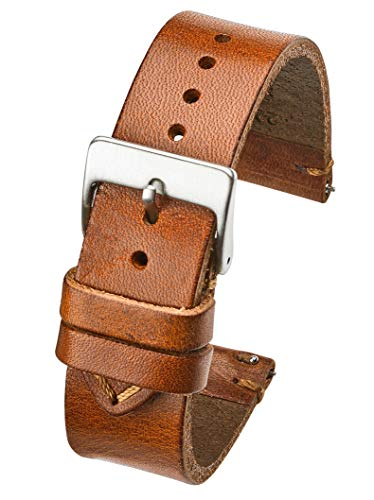 Hand Made Genuine Vintage Leather Watch Strap with Quick Release Steel Spring Bars - Tan - 22mm (fits Wrist Size 6 1/4 inch to 8 inch) ()
