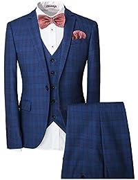 De los hombres One-Button Diseñador Lujo Suits Tartán tuxedos (3 piezas)