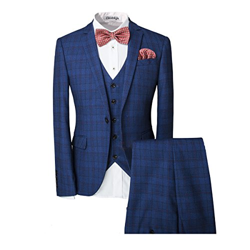 Blue Plaid Suit (Cloudstyle Men's One-Button Designer Luxurious Suits Plaid Tuxedos 3-Piece Set (XX-Large, Blue))