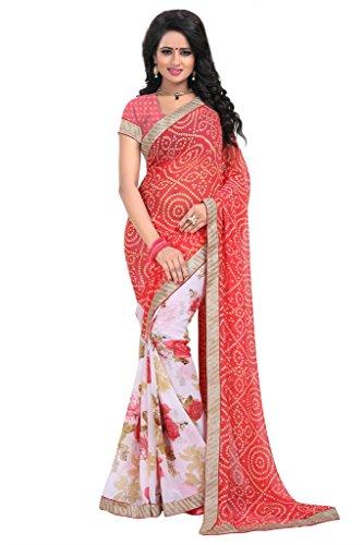 Janasya Women's Red Chiffon Bordered Saree (JNE1175-RED-SR-MS577)