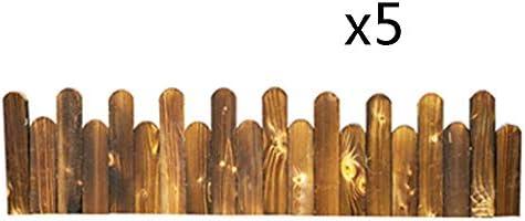 ZHANWEI 庭のフェンス ガーデンエッジ 垣 柵 炭化 木材 パティオ アウトドア 花壇 木 芝生 保護 ガード エッジング、 2つのスタイル、 3サイズ (Color : B-5pcs, Size : 100x25/30cm)