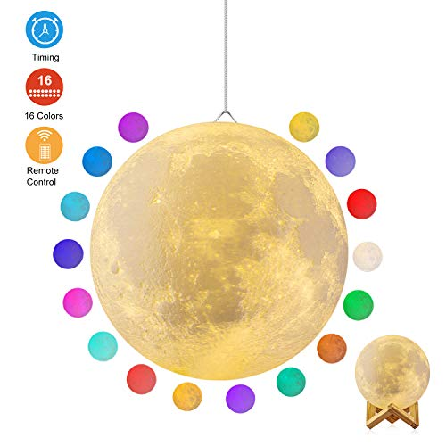 Moon Lamp, GDPETS 3D Printing 7.3 Inch 16 Colors Moon Night Light with Stand & Remote &Touch Control and USB Rechargeable Decorative Luna Lamp