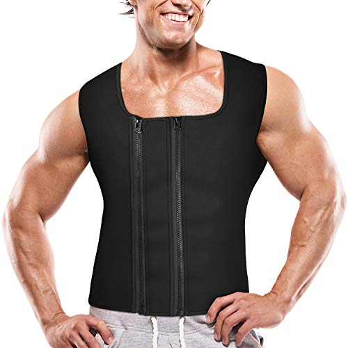 Mens Full Zipper Vest - Goldenstarsport Men Waist Trainer Vest for Weightloss Sauna Sweat Suit Neoprene Compression Sweat Vest for Slimming Sauna Tank Top Double Zipper Workout Shirt Adjustable