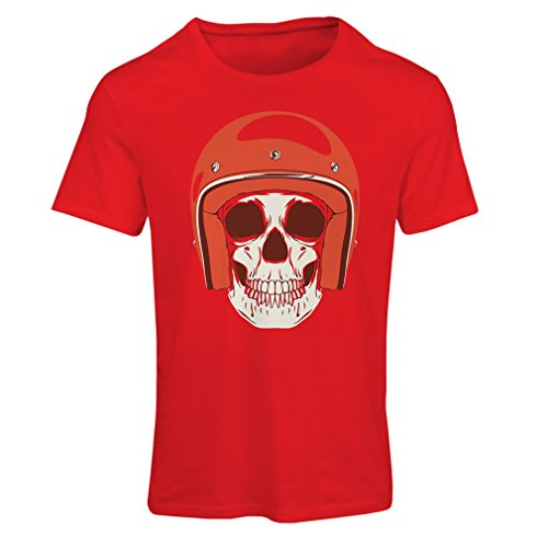 T Shirts for Women Moto Skull with Cap Helmet- Motorcycle Clothing, Motorbike Apparel, Riding Gear (X-Large Red Multi Color)