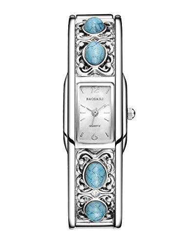 (BAOSAILI Brand Bangle Watches Gold Plated Turquoise Women Bracelet Dress Quartz Watch)