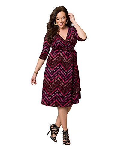 Kiyonna Women's Plus Size All Work and Play Wrap Dress 5X Pink Multi Print