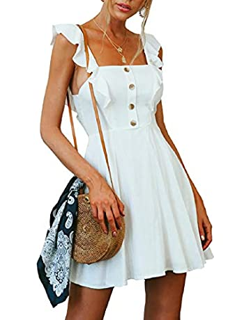 237660bc9 Women Dress Summer Beach Sling Casual Sleeveless Vintage Button A-Line Mini  Dresses with Zipper