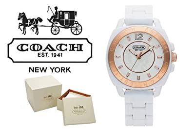 Coach Boyfriend Gold Bezel White Acrylic Bracelet Watch