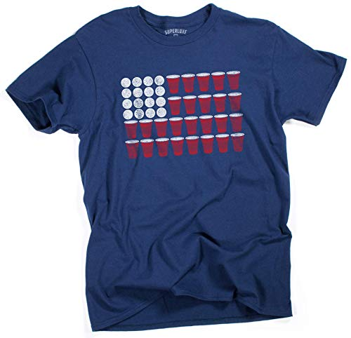 Superluxe Clothing Mens/Womens/Unisex 4th of July 2019 Beer Pong Funny American Flag Party Drinking T Shirt, Navy, Small