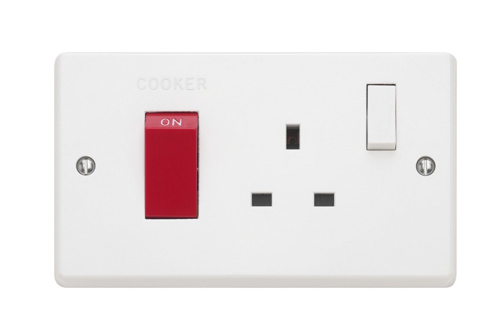 Contactum ASP2456SWR 45A DP Cooker Switch +13A Socket Outlet with White Rocker (Pack of 5)