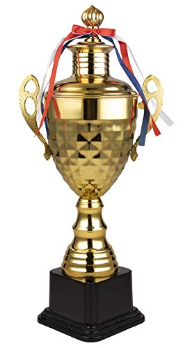- Juvale Trophy Cup - Large Gold Trophy, Award Supplies for Sport Tournaments, Competitions, Race, Game, Reward, Props, Prize, School, Company, Gold Square Design, 8.5 x 5.75 x 19 Inches