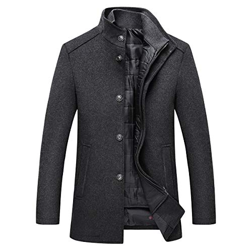 YOUTHUP Mens Coats 2 in 1 Wool Trench Coat Stand Collar Thick Winter Wool Peacoat (Jacket*1 & Gilet*1)