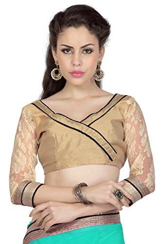 Designersareez Women's Chiffon Saree With Unstitched Blouse Free Size Teal Green