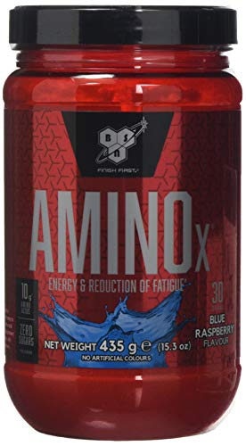 BSN Amino X Muscle Support Powder Supplement with Vitamin D, Vitamin A & Amino Acids. BCAA powder by BSN - Blue Raspberry, 30 Servings, 435g