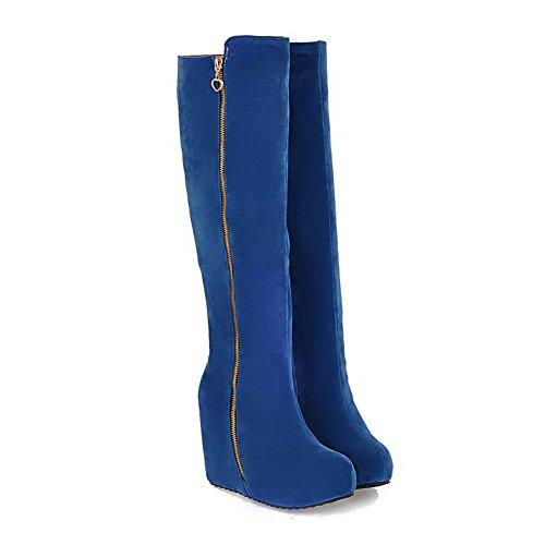AgooLar Damen Hoch-Spitze Reißverschluss Hoher Absatz Stiefel mit Metallisch, Blau, 37