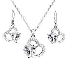 EleQueen 925 Sterling Silver Full Cubic Zirconia A Heart Full of Eternal Love Bridal Pendant Necklace Hook Earrings