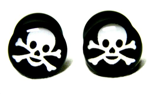 - Double Flared Black Skull Plugs Acrylic (1 Pair, 0g / 8mm)
