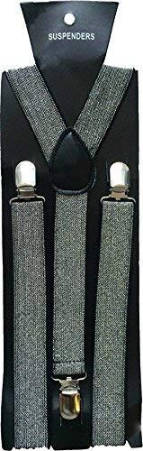 Silver Glitter Halloween Wholesalers Mens Suspenders 6 Pack
