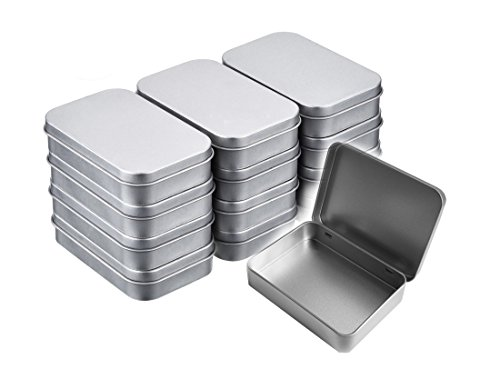 Walkingpround 12 Pack Empty Tin Box Storage Containers Metal Silver Rectangular Hinged Box for Candy Tins -