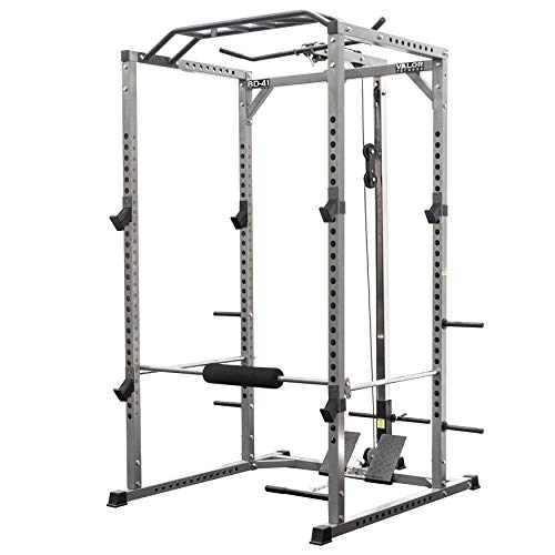 Valor Fitness BD-41 Heavy Duty Power Cage with Multi-Grip Chin-Up Bar and LAT Pull Attachment