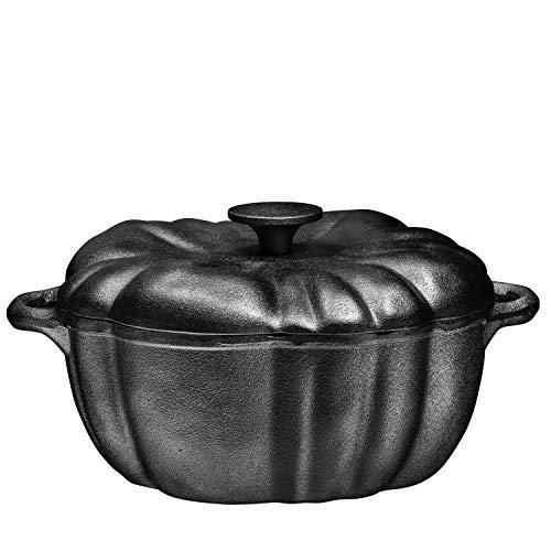Pre-Seasoned Cast Iron 4 Quart Pumpkin Soup Pot – Perfect Casserole For Oven-to-Table Presentations Of Soups, Stews…