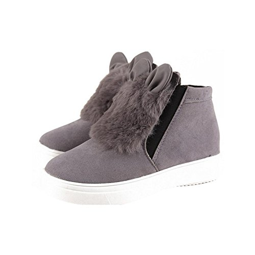 Winter Platform With Shoes Bota Grey Quliuwuda Student Female Warm Slip with for Boots Woman Women Shoes Plush on Cotton Ears XB4q5n4WU