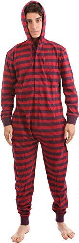 Funzee Retro Style Allinone Onesie Pajamas, Stripy Sleepsuit (Small) (Red/purple)