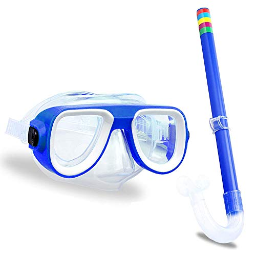 Kids Snorkel Set, Silicone Scuba Diving Snorkeling Glasses Set,Semi-Dry Snorkel Equipment,for Boys and Girls