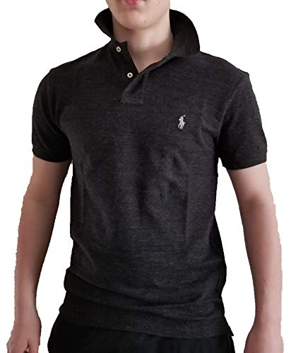 Polo Ralph Lauren Men's Slim Fit Cotton Pique Mesh Polo Shirt (Medium, Black Heather/Madeira Silver)
