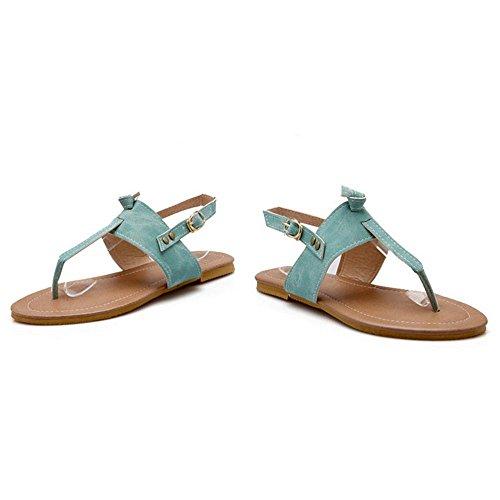 TAOFFEN Mujer Clasico Verano Sandalias Split Toe Singback Plano Zapatos Azul