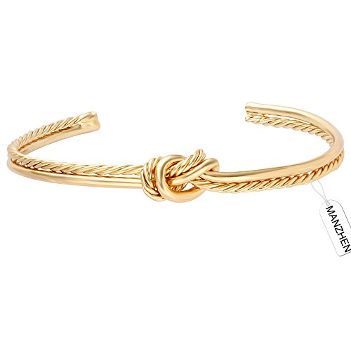 MANZHEN Simple Knot Love Knot Bangle Adjustable Open Cuffs Bracelet for Women Tie The Knot Bangle