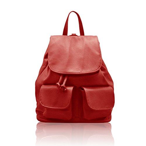 LOLA Zainetto con tasche esterne pelle morbida anilina Made in Italy rosso