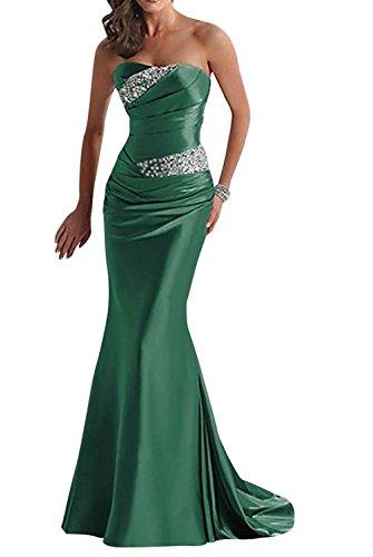 Vickyben - Vestido de noche de mujer largo palabra de honor, corte sirena verde 48