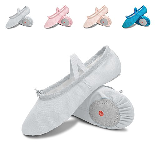 L-RUN Classic Ballet Slipper with Drawstring Topline Canvas Dance Shoes White for $<!--$9.29-->