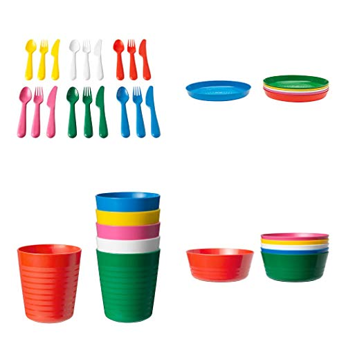 Ikea KALAS 36-Piece Children's Dinnerware Set, New Colors