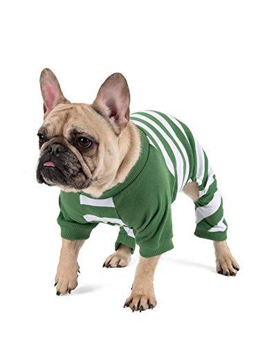 Leveret Matching Dog Pajamas Christmas Pjs 100% Cotton Green/White Stripes Size Medium