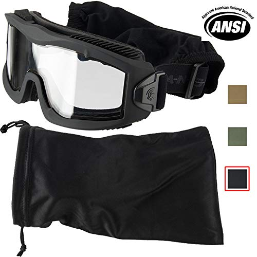 Lancer Tactical AERO 3mm Thick Dual Pane Lens Eye Protection Safety Goggle System ANSI Z87 1 Rated Industry Standard Panel Ventilated w/Anti-Scratch Shield Fully Adjustable (Black/Clear)