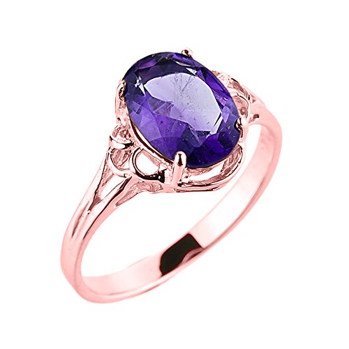 - Solid 10k Rose Gold February Birthstone Genuine Amethyst Gemstone Ring (Size 6)
