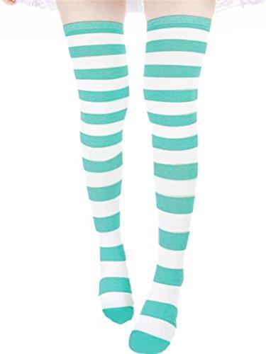 ZANZEA Womens Thigh High Socks Over the Knee Stocking Striped Tights Litght Green Medium from ZANZEA