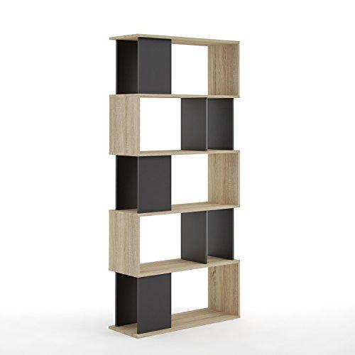 Tvilum 71735ak86 Twist 7 Shelf Bookcase, Oak Structure/Black