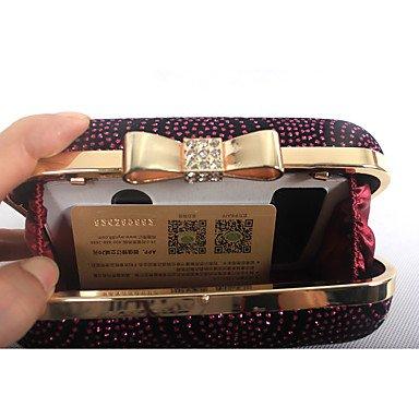 Heart&M Damen Taschen Ganzjährig Samt Abendtasche mit Strass Schleife(n) Metallkette Mini Punkte für Hochzeit Veranstaltung Fest Formal Schwarz dark fuchsia
