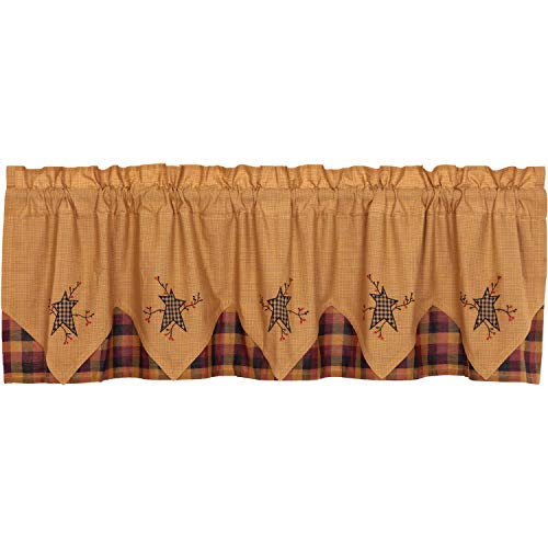 Heritage Star Valance - VHC Brands Primitive Kitchen Curtains Heritage Farms Pip Rod Pocket Cotton Hanging Loops Appliqued Star 20x72 Valance Mustard Yellow