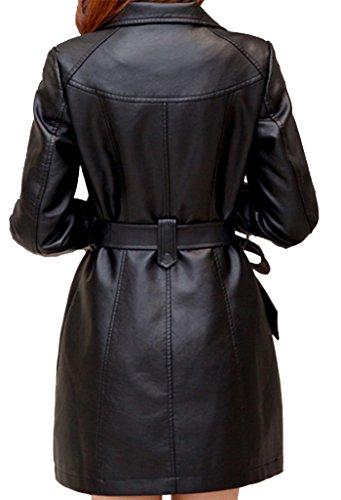 Noir faux avec simple long cuir Helan manteau ceinture femmes 7xtYq8wg