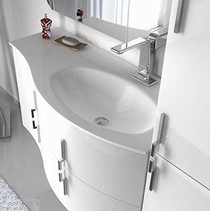 Mobile Bagno 104 Cm Arredo Sospeso Bianco Nero Rosso Grigio