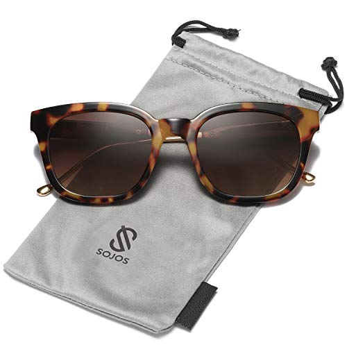 (SOJOS Classic Polarized Sunglasses for Women Men Mirrored Lens SJ2050 with Tortoise Frame/Brown Polarized Lens)