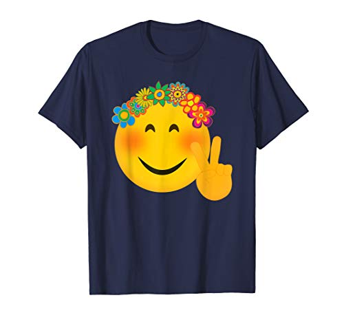 Hippie Emoji Shirt Funny Hippy Peace Flowers Halloween Tee]()