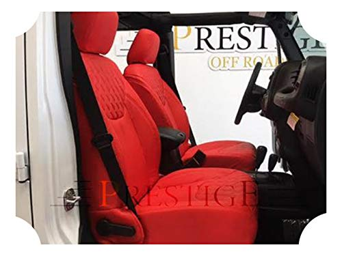 Prestige Wrangler Seat Cover Kit - Diamond Pattern Red Syn Leather w/Red Stitching - Perforated - Compatible with Jeep Wrangler JK 4DR Unlimited - Fits 2013-2018 ()
