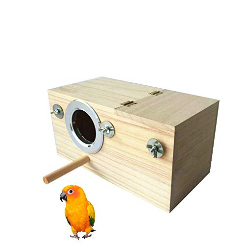 Tree Mount Bird Nest - QBLEEV Bird Wood Breeding Box Nest Birdhouse Cage Nesting with Perch Stand Parakeet Budgie Lovebirds Finch Aviary Parrot