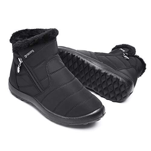 Boots Camfosy Noir Ville Chaude Hiver À En Fourrée Confortable Bleu Neige Talons Plates Imperméable Zip Rouge Femmes Intérieur Bottines Chaussures Tissu De Fourrure Plats Filles BxrZABa